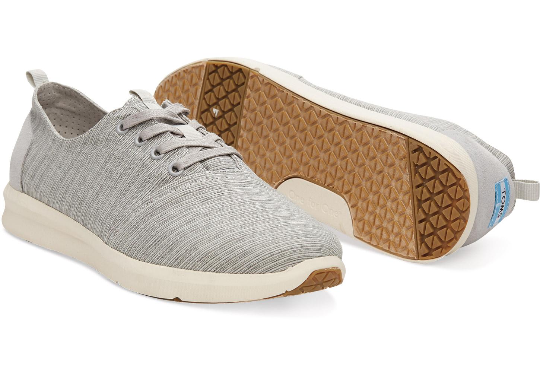 Toms Vapor Grey Striped Linen Mens Viaje Sneakers In Gray