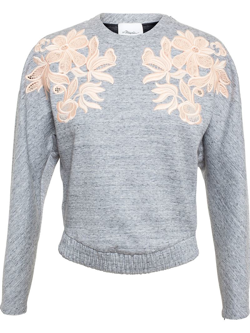 3.1 Phillip Lim Embroidered Crew Neck Sweatshirt Sale Outlet Locations ZdSDqXRCh2