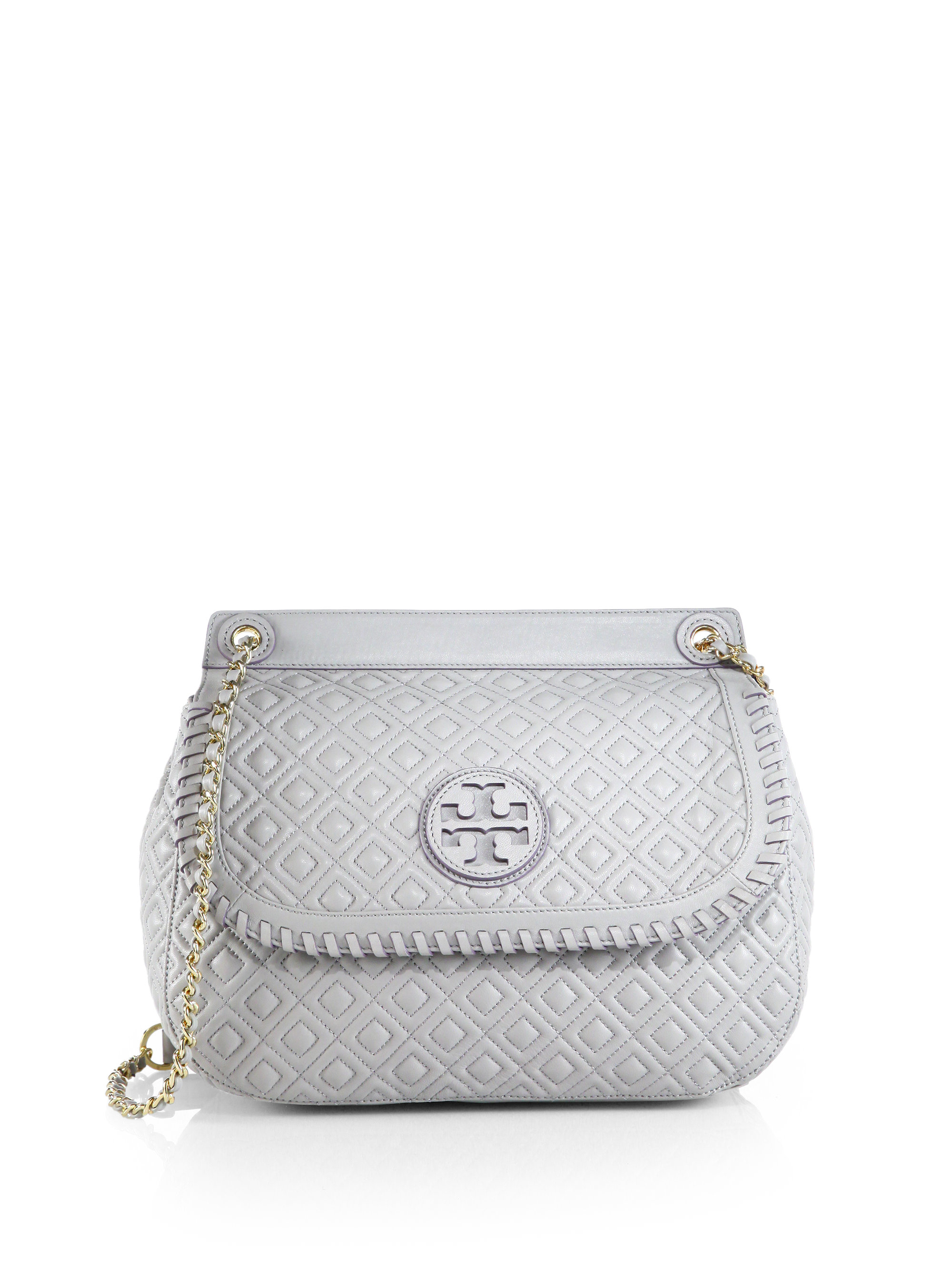 Tory Burch Marion Quilted Saddle Shoulder Bag In Metallic
