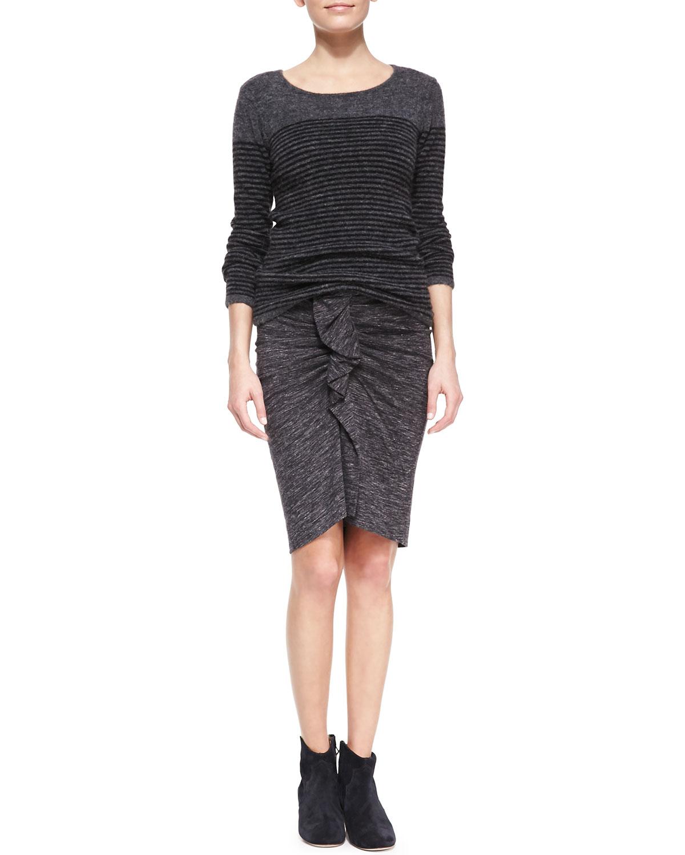 lyst toile isabel marant womens mills melange ruffle skirt in gray. Black Bedroom Furniture Sets. Home Design Ideas