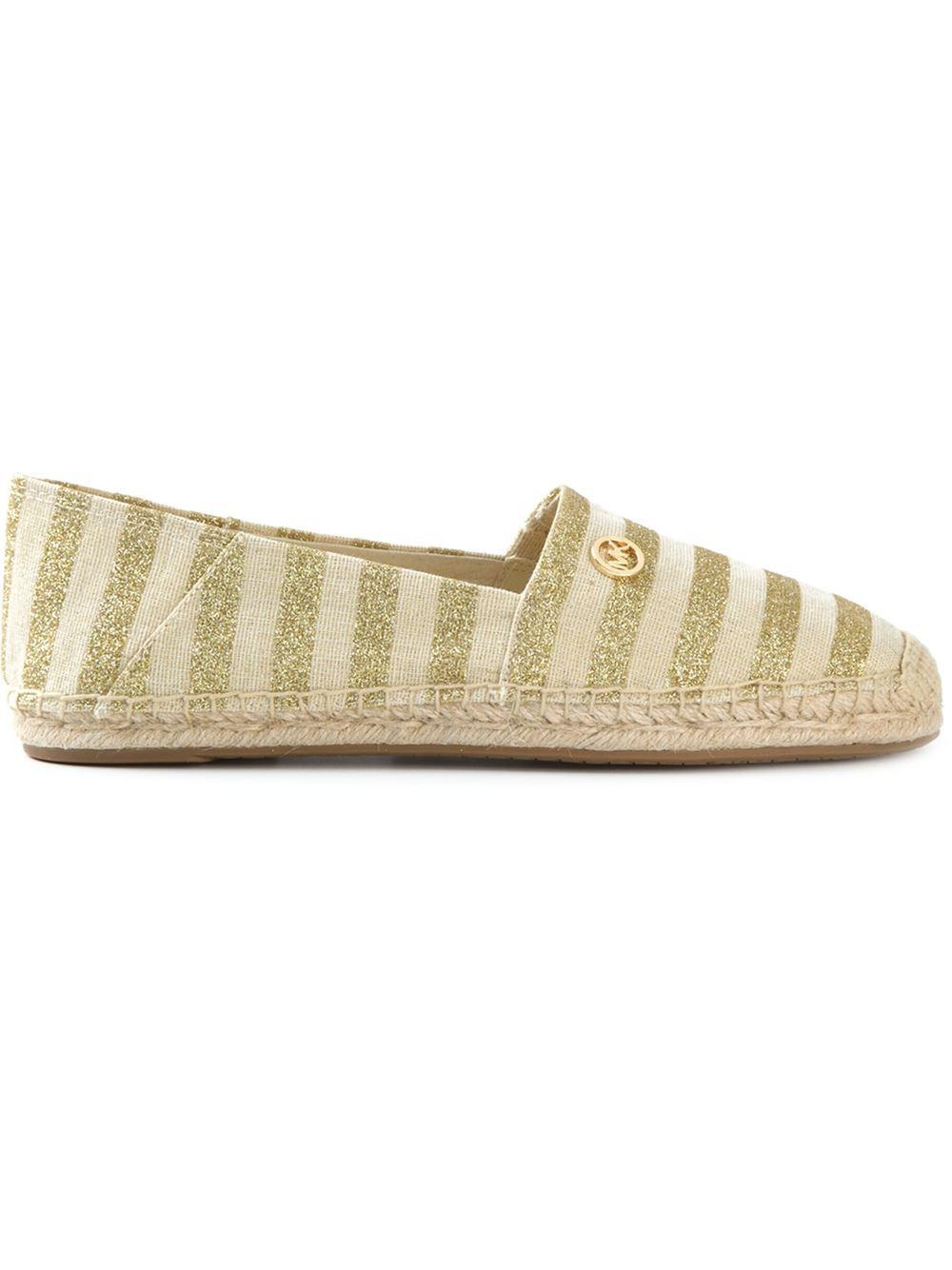 michael michael kors striped espadrilles in metallic lyst. Black Bedroom Furniture Sets. Home Design Ideas