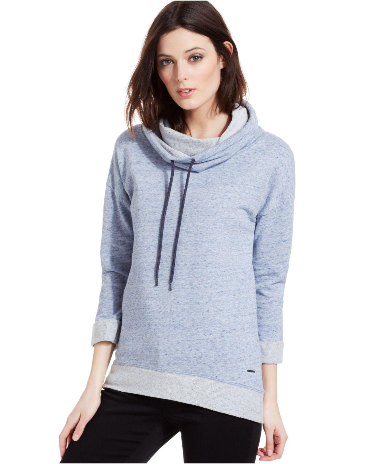 calvin klein jeans long sleeve cowl neck sweatshirt in. Black Bedroom Furniture Sets. Home Design Ideas