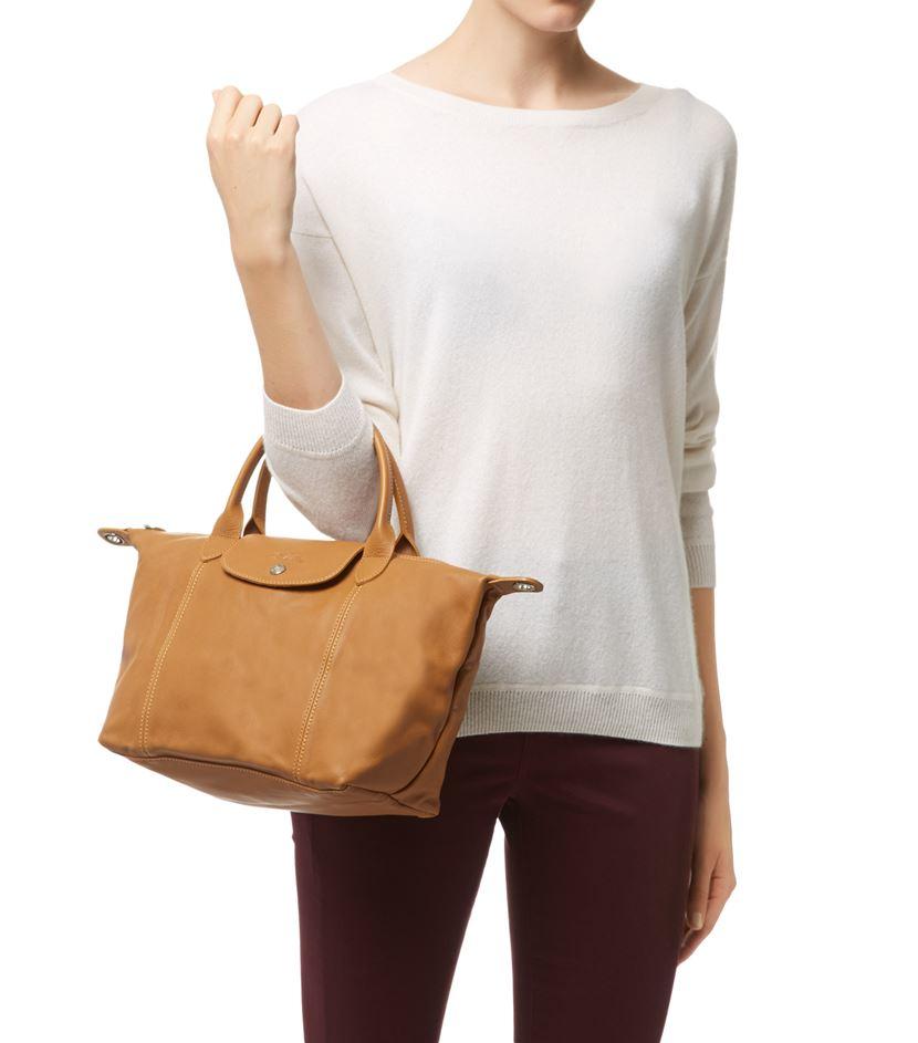 34eb3ff64f49 Longchamp Le Pliage Cuir Small Handbag in Natural - Lyst