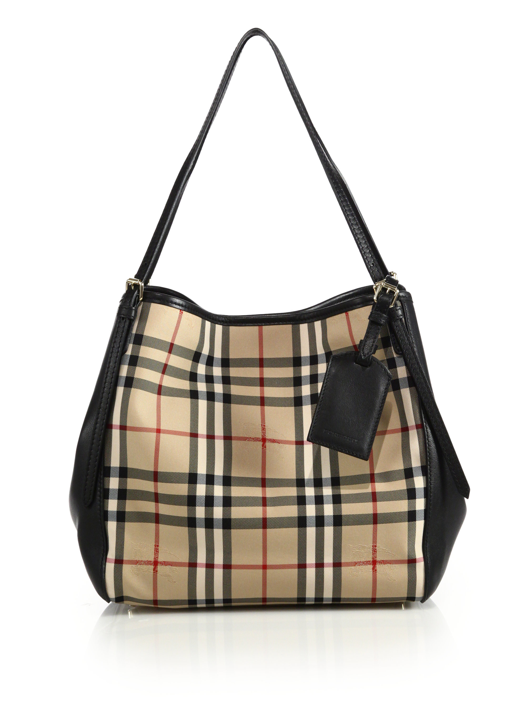 5c2989066c0c Lyst - Burberry Canter Small Horseferry Check Textile   Leather Tote ...