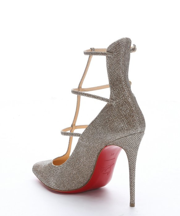 Christian louboutin Gold Glitter Fabric \u0026#39;toerless Muse\u0026#39; Triple T ...
