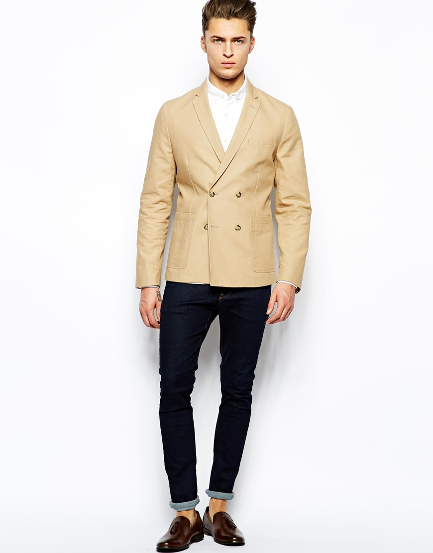 Asos Slim Fit Double Breasted Blazer In Washed Cotton in Natural ...