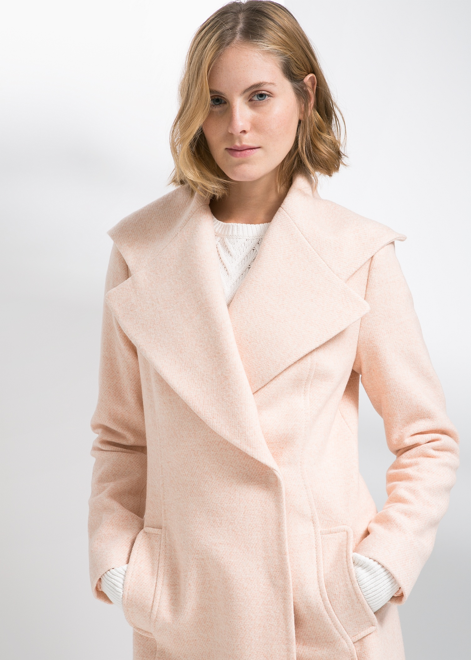 Mango Wide Lapel Wool-Blend Coat in Pink | Lyst
