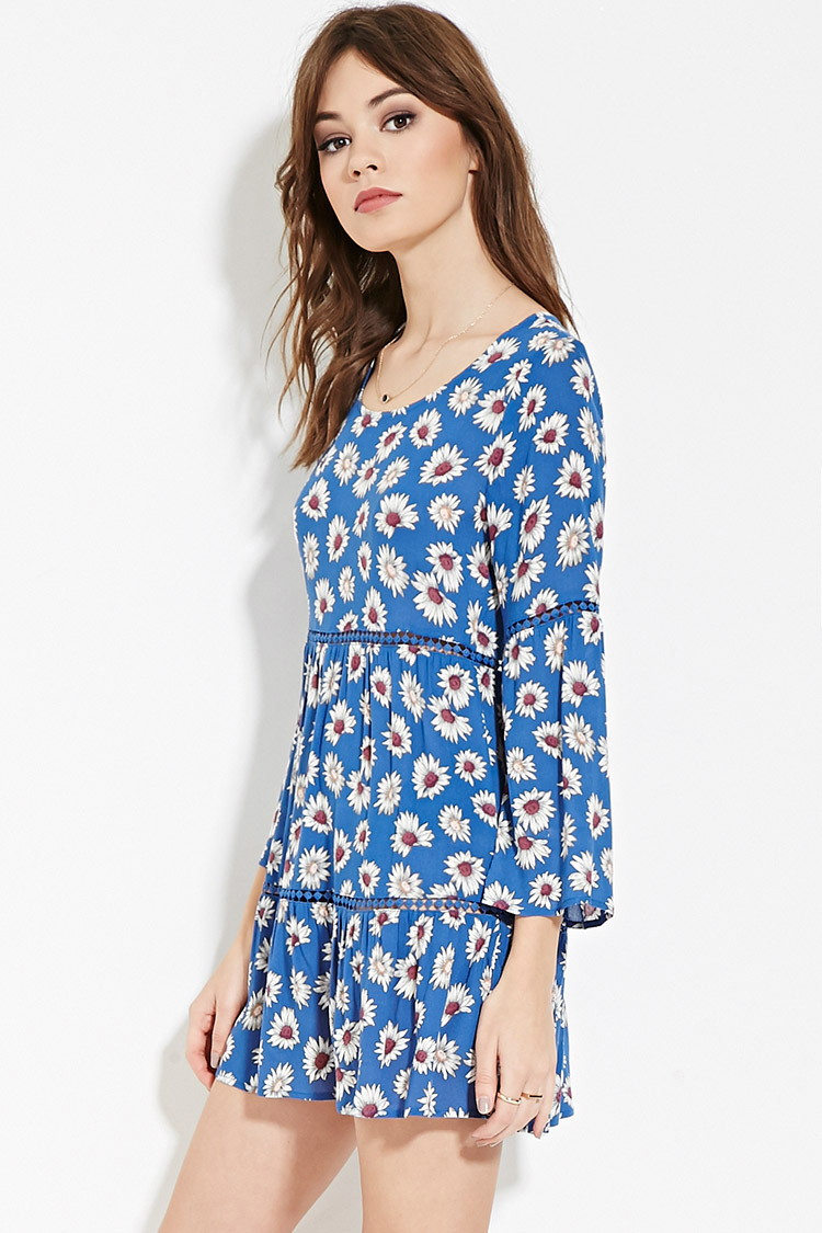 Forever 21 Floral Print Mini Dress in Blue | Lyst
