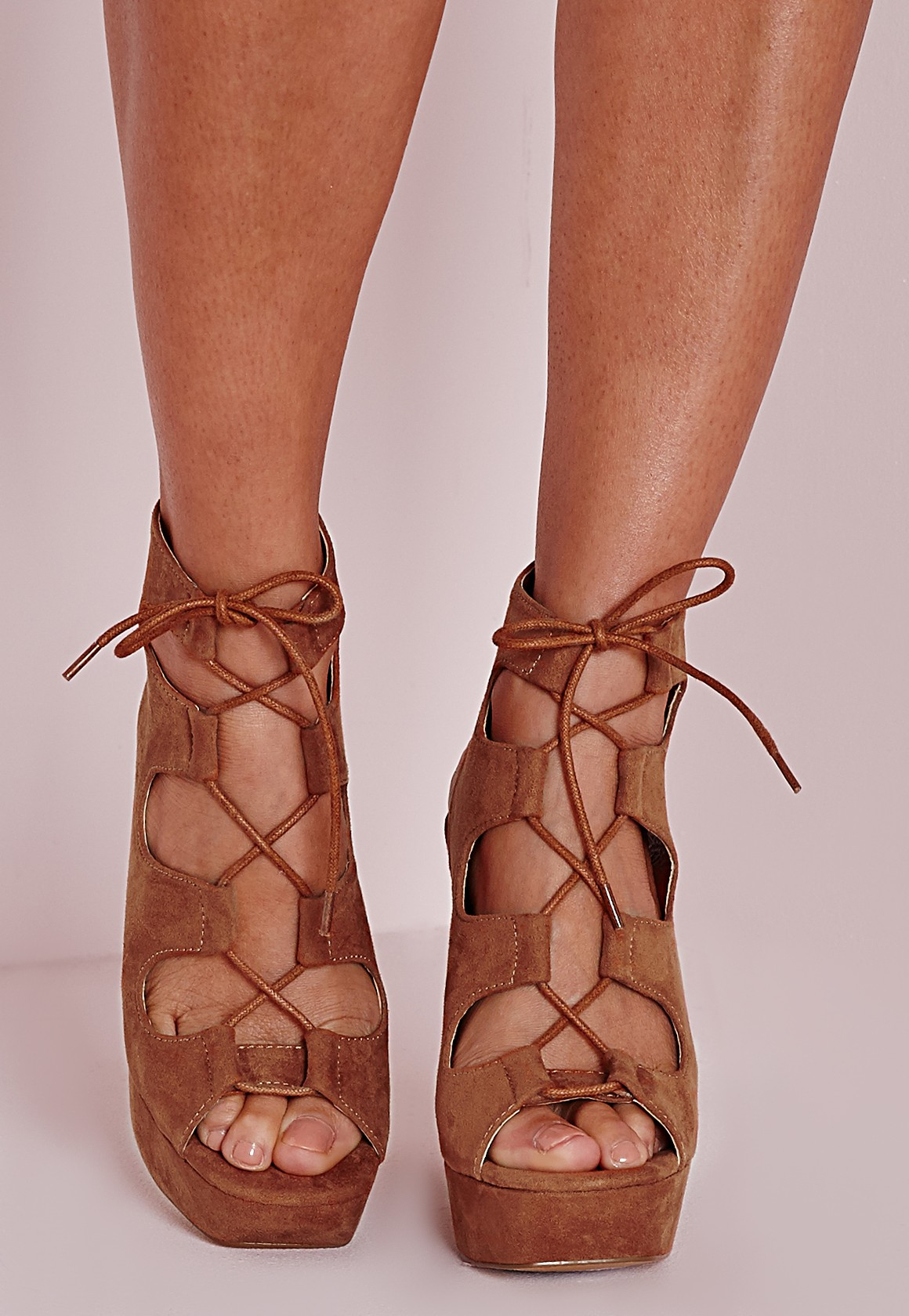 Missguided Lace Up 70 S Platform Sandals Tan In Brown Tan