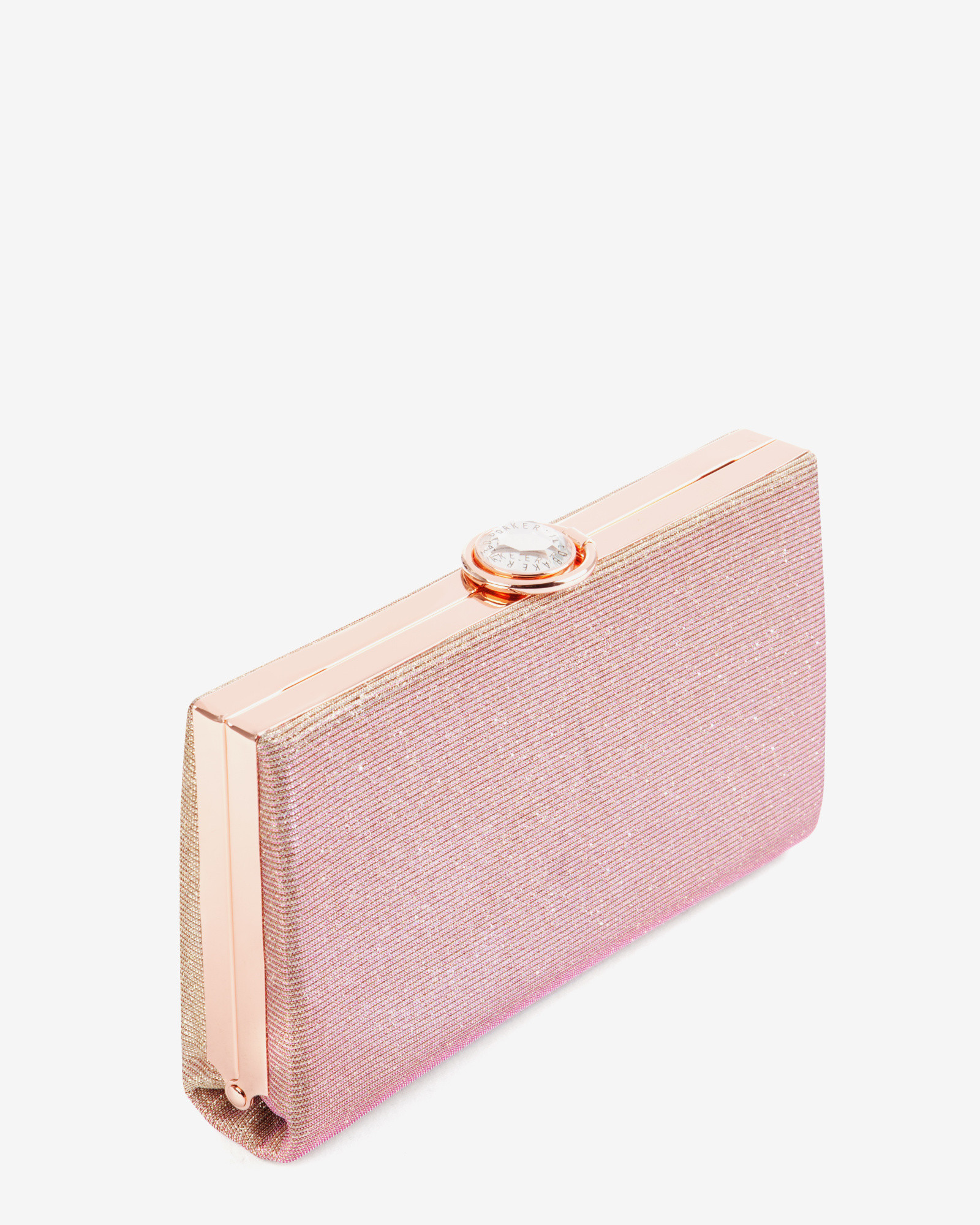 Ted baker Hard Case Glitter Clutch Bag in Pink | Lyst