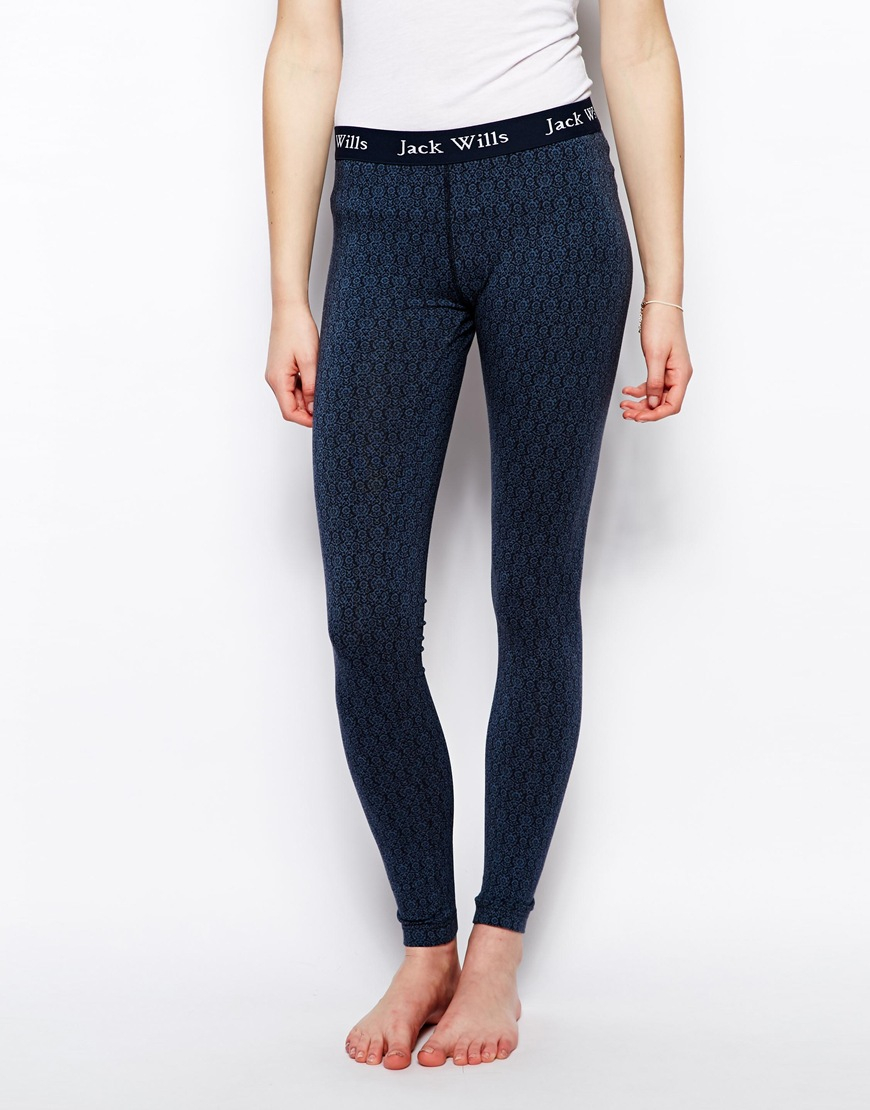 a13fccc0d9e627 Jack Wills Black Leggings with Contrast Logo Waistband in Blue - Lyst