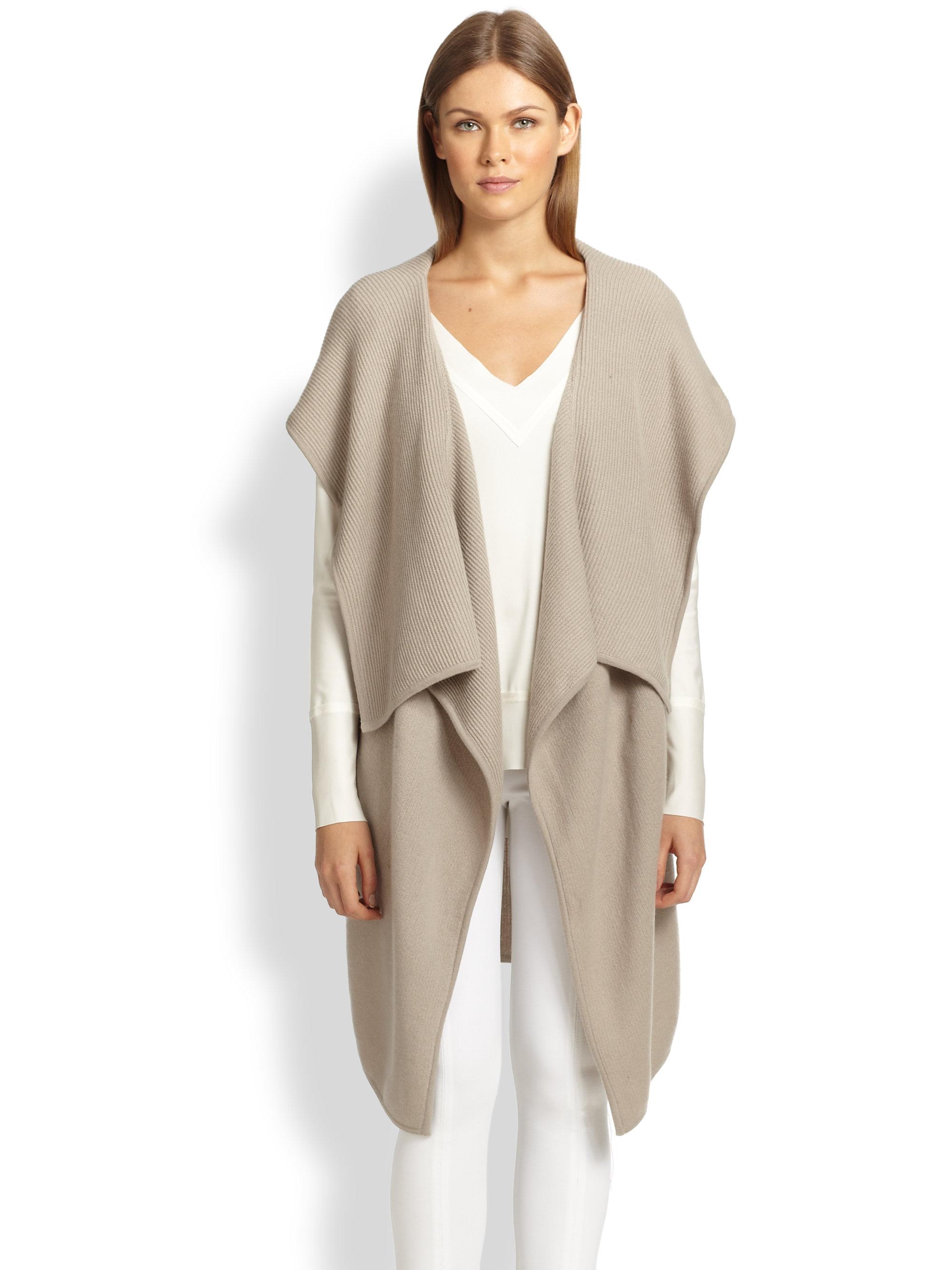 donna karan sleeveless hooded cashmere cozy in natural lyst. Black Bedroom Furniture Sets. Home Design Ideas