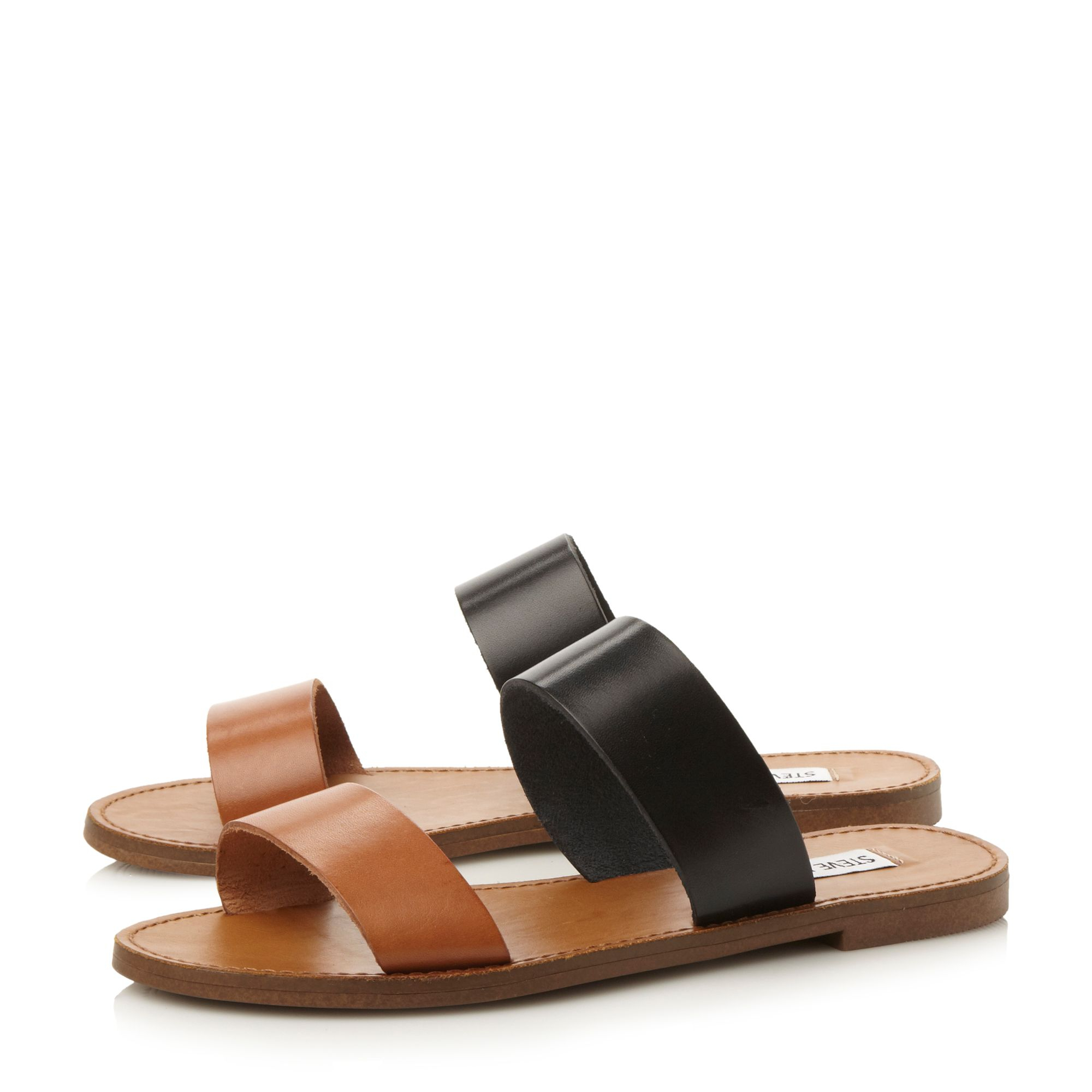 Steve Madden Dbandl Sm Double Strap Sliders In Brown Lyst