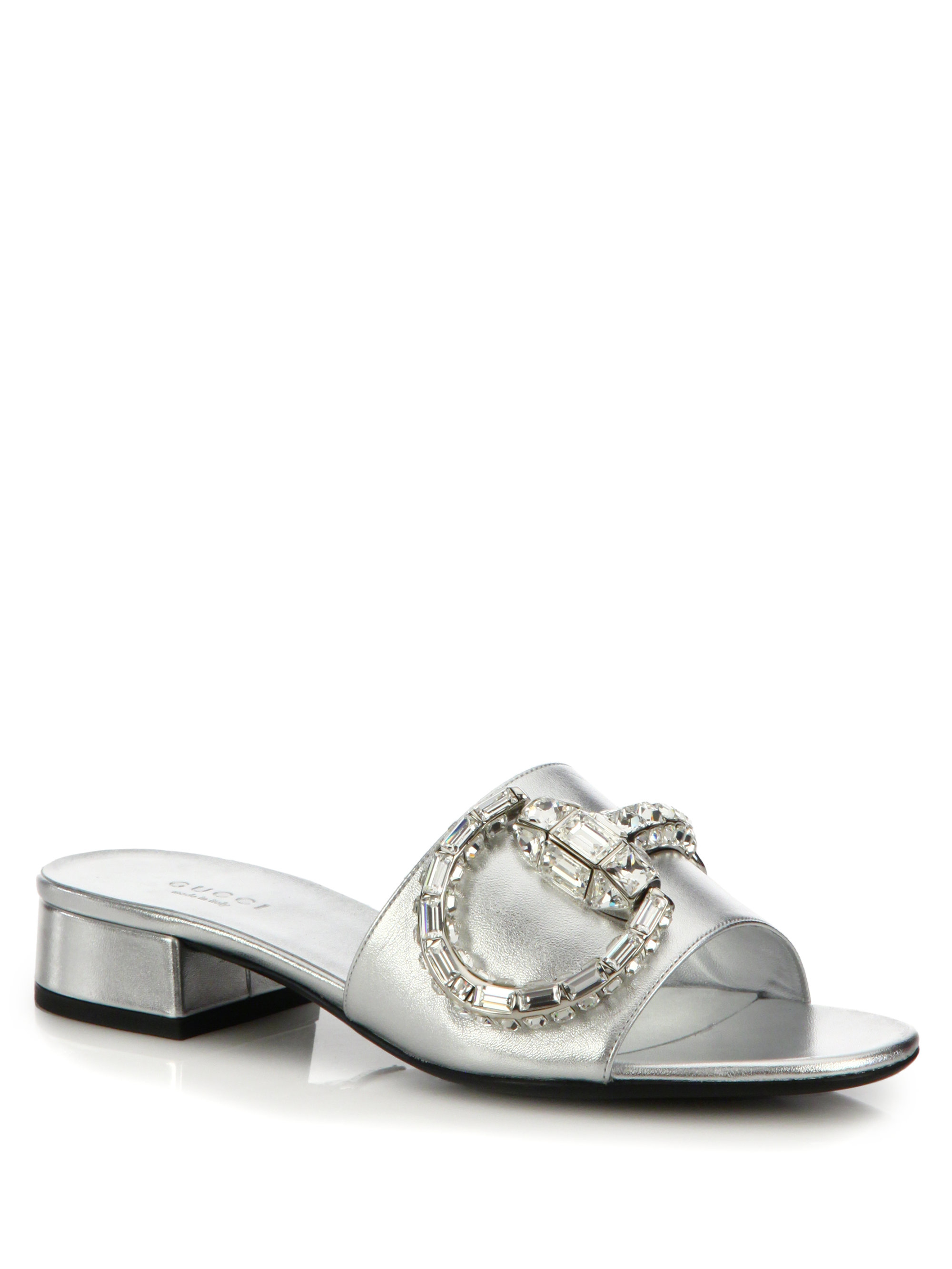 Gucci Maxime Crystal Horesbit Slide Sandals In Metallic Lyst