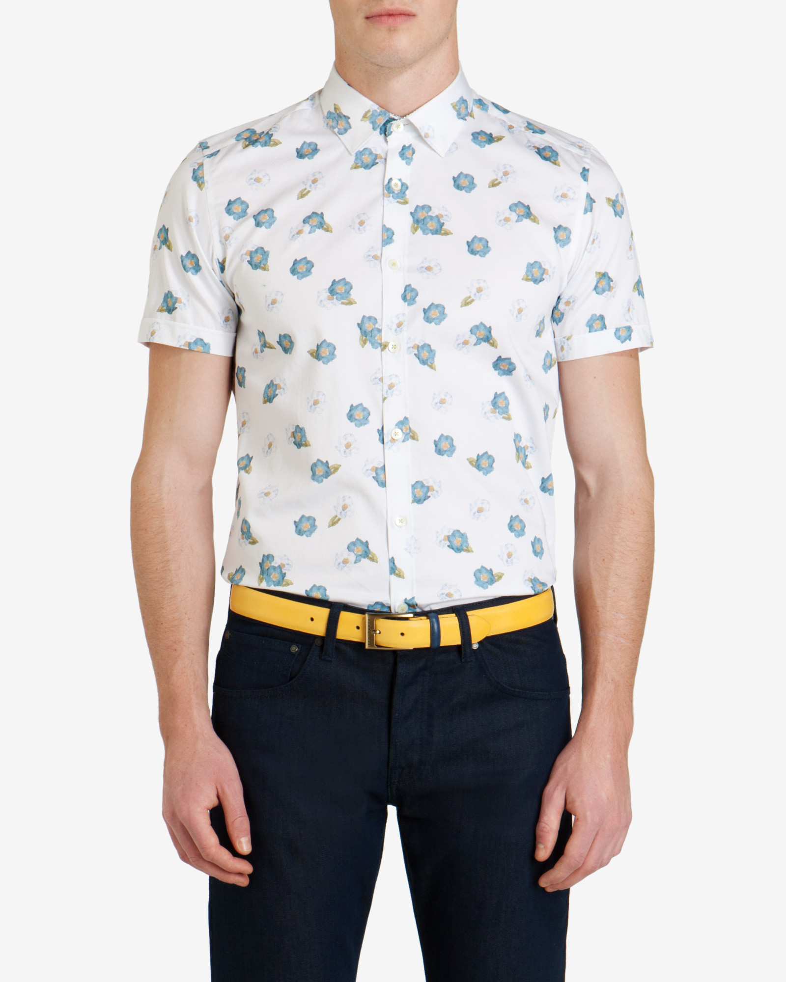Ted baker printed floral shirt in blue for men white lyst for Ted baker blue shirt