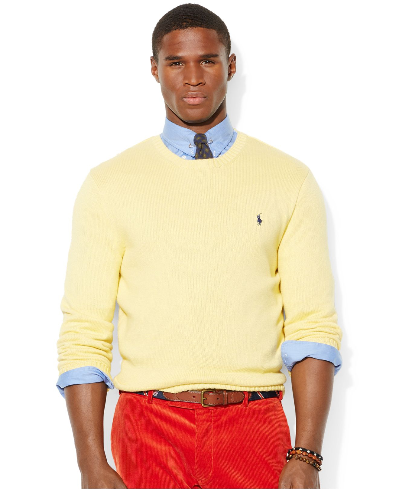 polo ralph lauren crew neck cotton pullover in yellow for men lyst. Black Bedroom Furniture Sets. Home Design Ideas