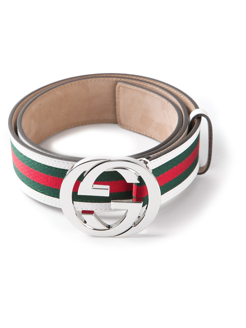 Gucci Striped Belt In White For Men Lyst