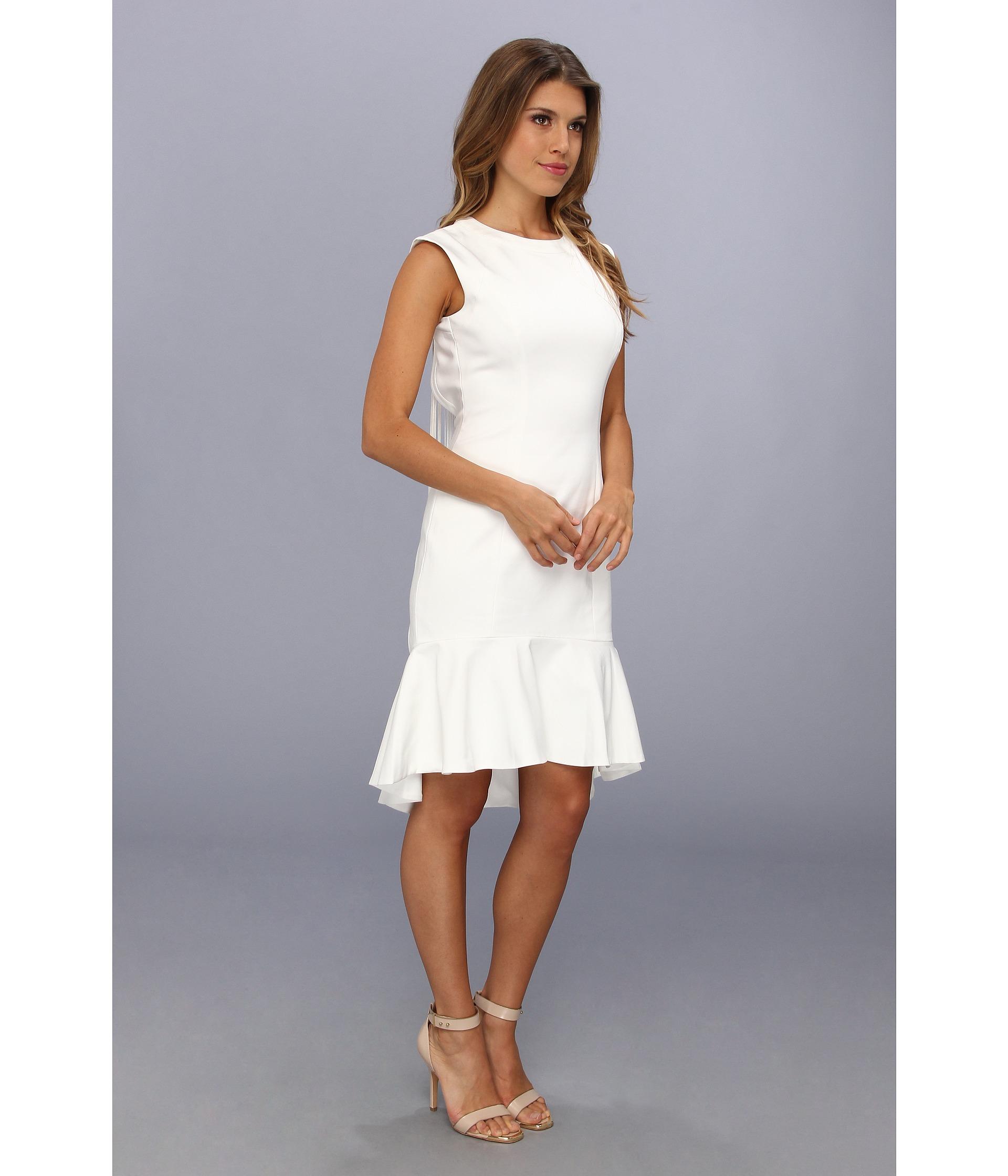 Badgley mischka Open Back Cocktail Dress in White  Lyst
