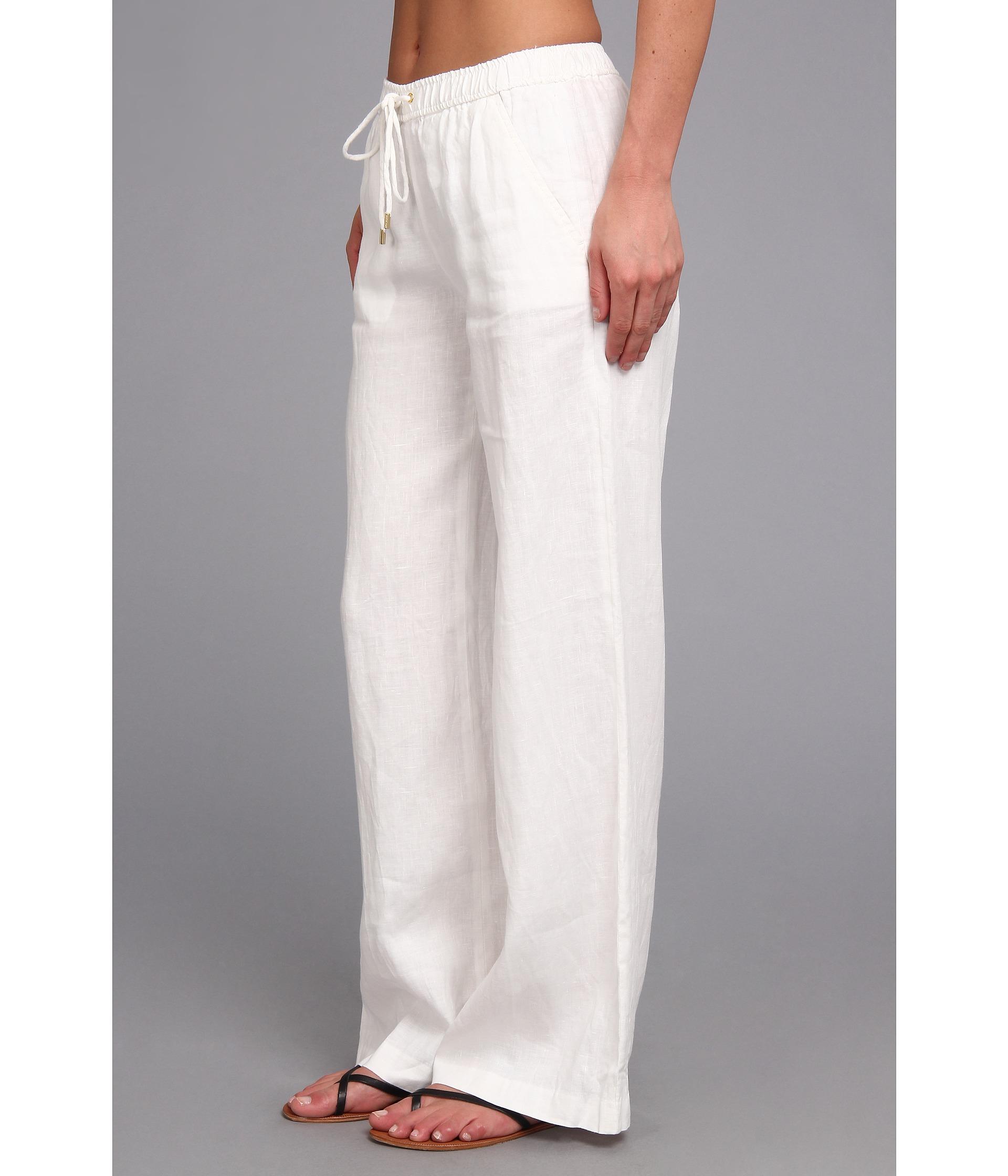 Michael michael kors Linen Wide Leg Pant in White | Lyst