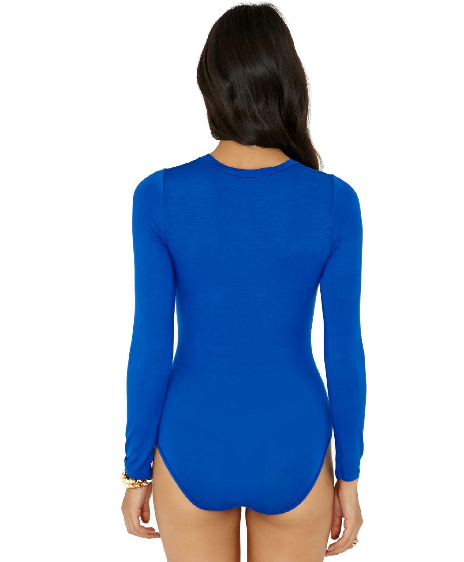 Lyst - Missguided Gerta Value Long Sleeve Bodysuit in Cobalt Blue in ... 27aef0dac
