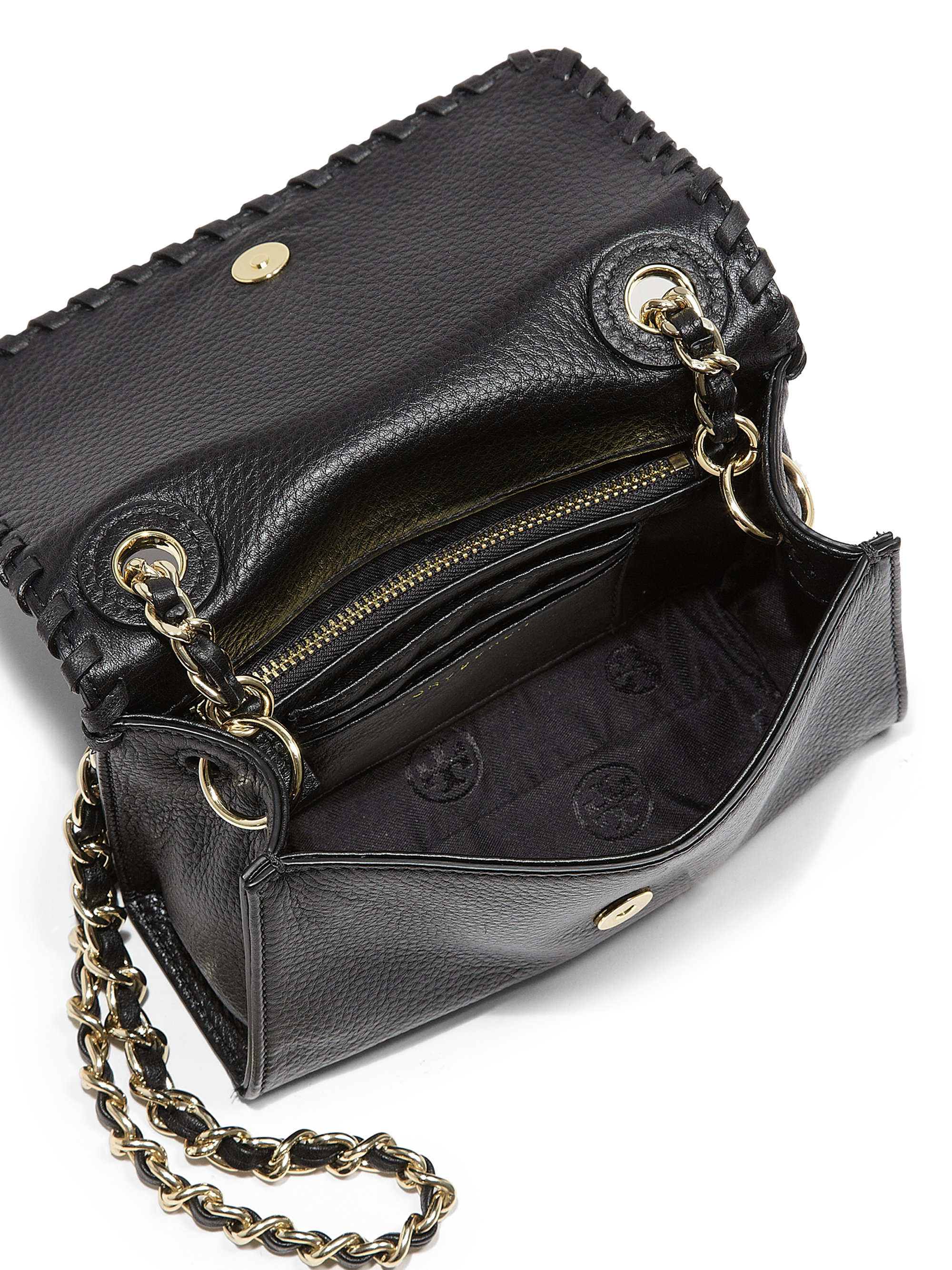 Lyst Tory Burch Marion Shrunken Shoulder Bag In Black