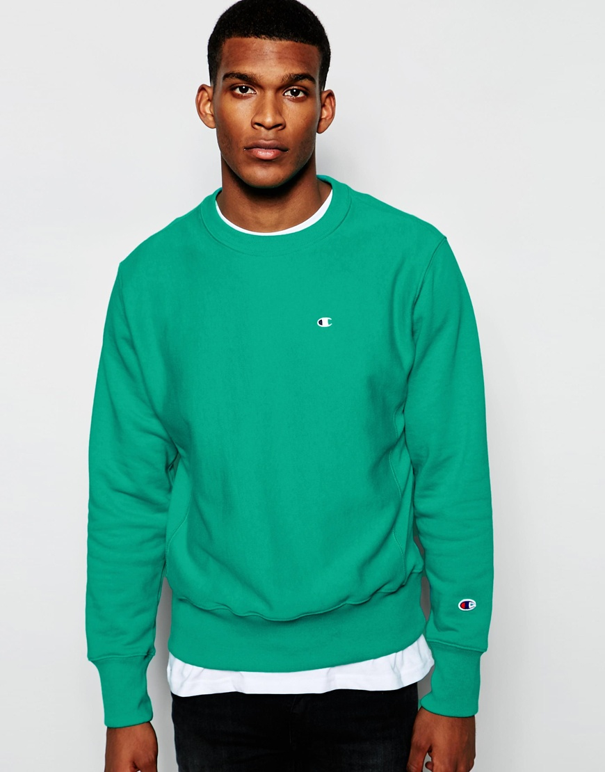 Champion Sweatshirt With Small Logo in Green for Men | Lyst