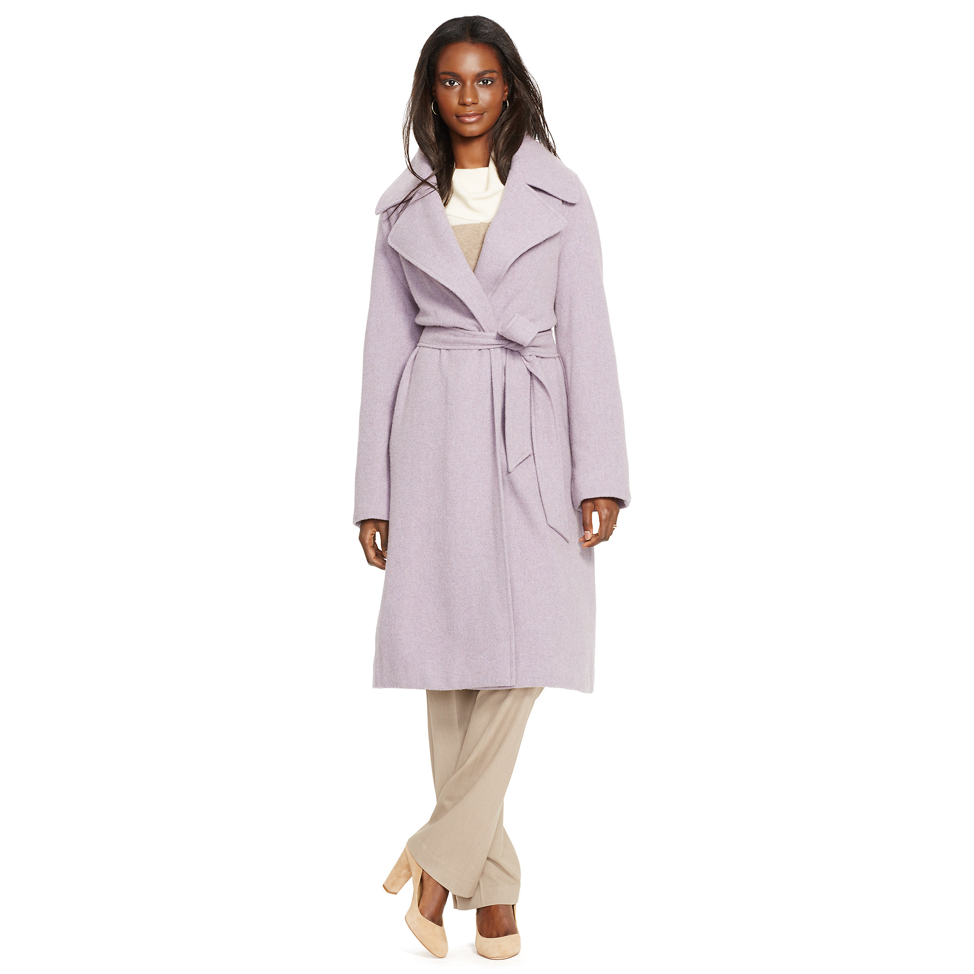 Ralph Lauren Belted Wool Wrap Coat In Purple Lyst