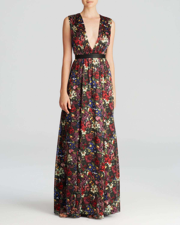 Lyst - Alice + Olivia Triss Romantic Floral Silk Maxi Dress