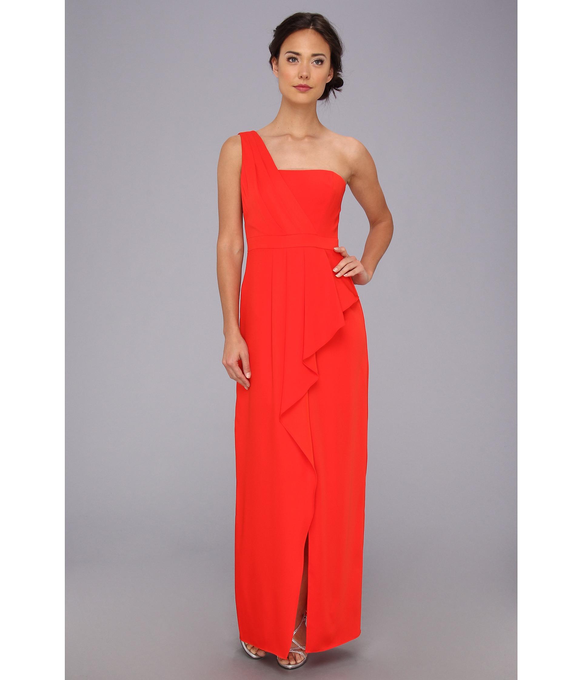 Lyst - Bcbgmaxazria Kristine One-Shoulder Peplum Gown in Red