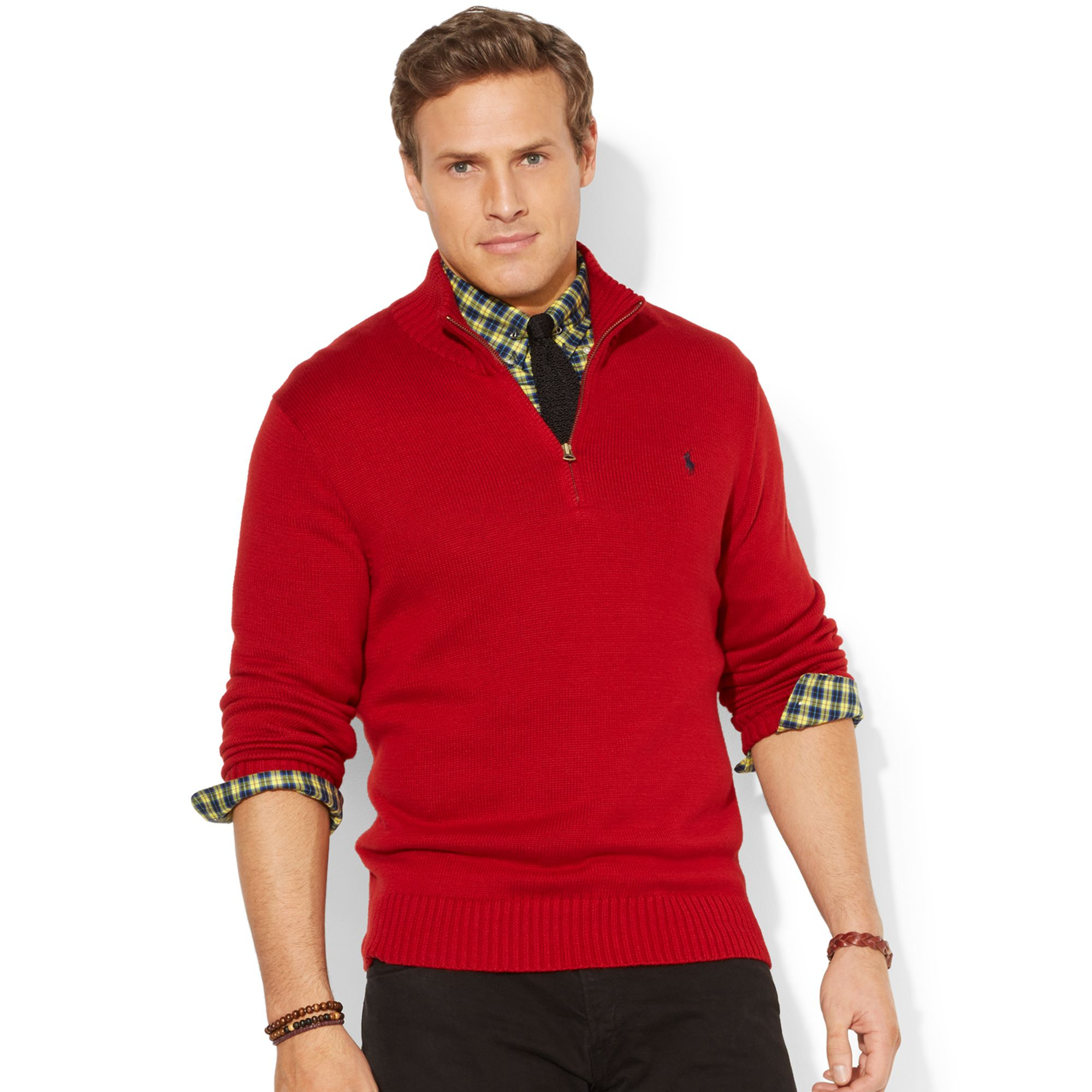 Polo ralph lauren Big And Tall Half-Zip Mockneck Sweater in Red ...