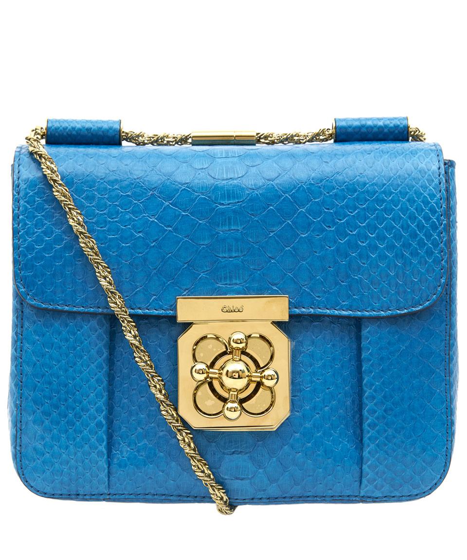 e9ef1267d7ac Chloé Blue Elsie Small Python Bag in Blue - Lyst