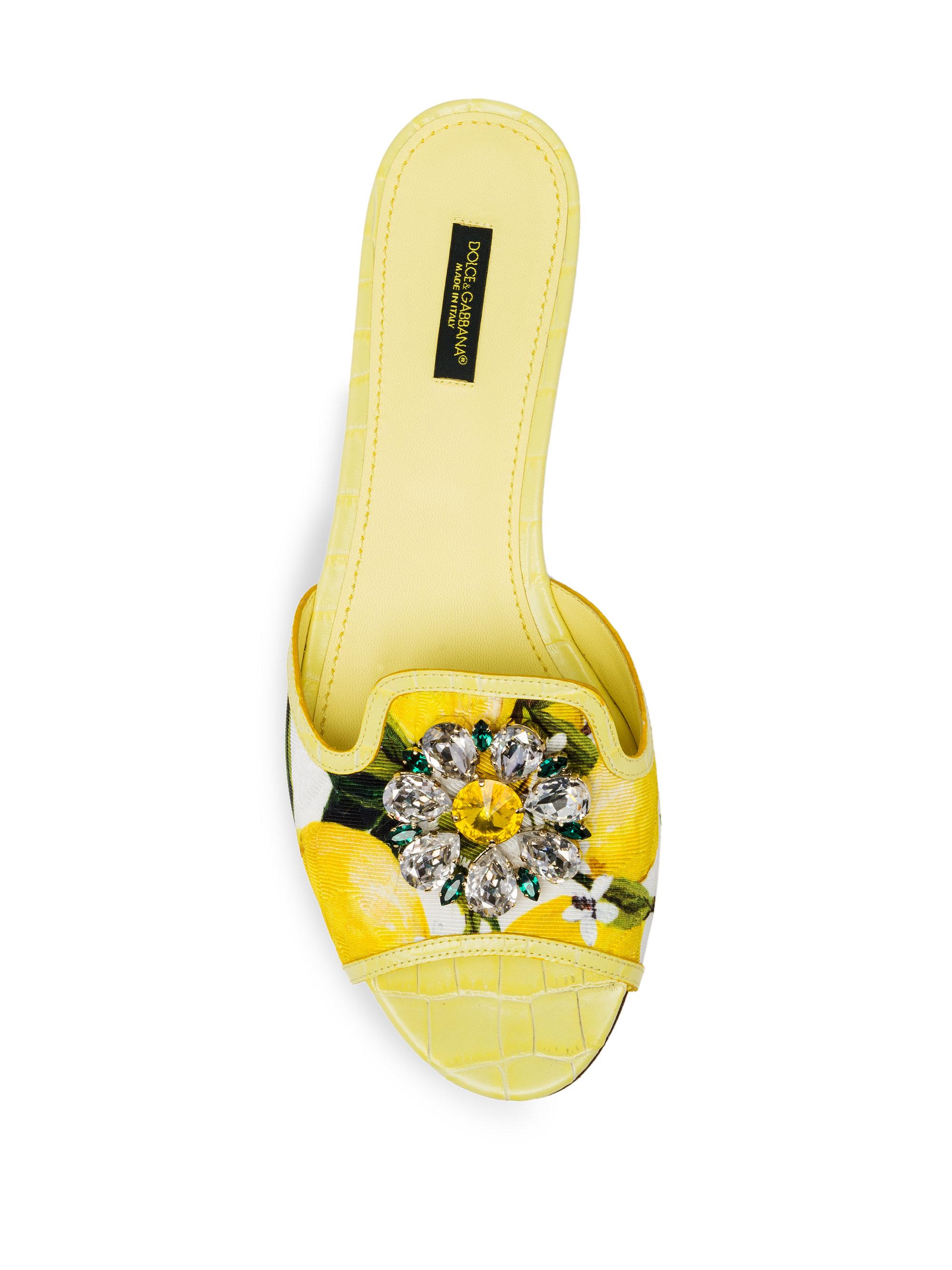 8a3b134d6281d Lyst - Dolce   Gabbana Jeweled Lemon Slide Sandals in Yellow
