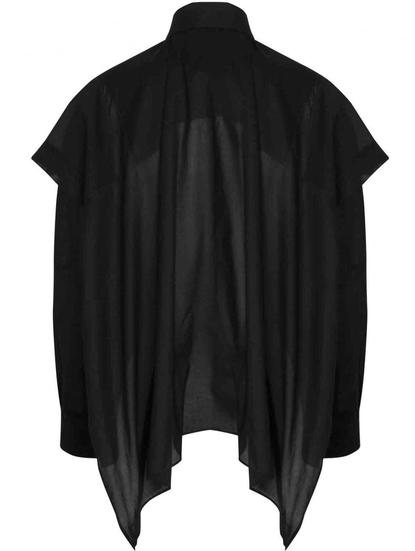 Maison margiela black button down oxford shirt cape in for Black oxford button down shirt