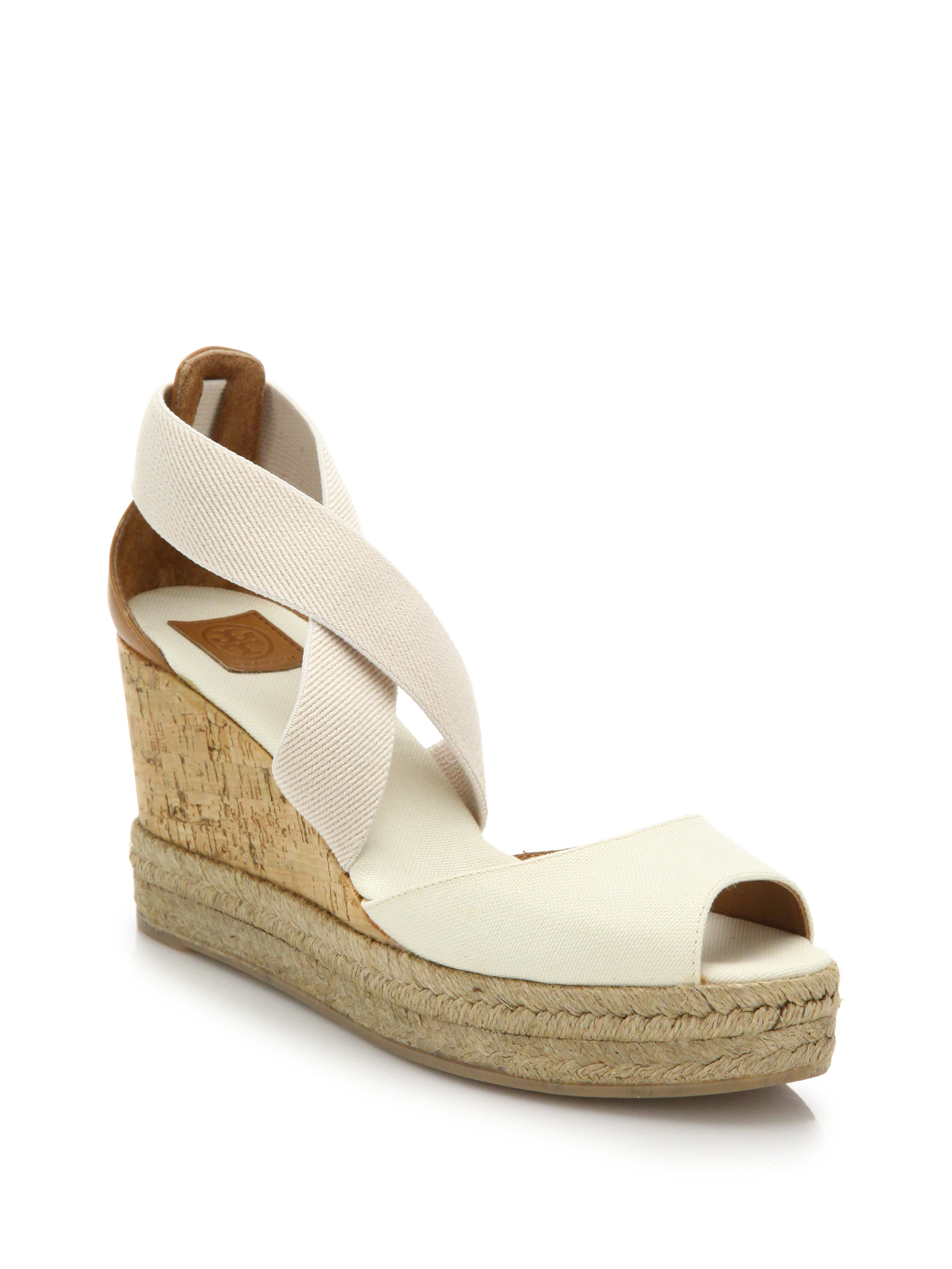 92372ed463e Lyst - Tory Burch Canvas   Cork Espadrille Wedge Sandals in White
