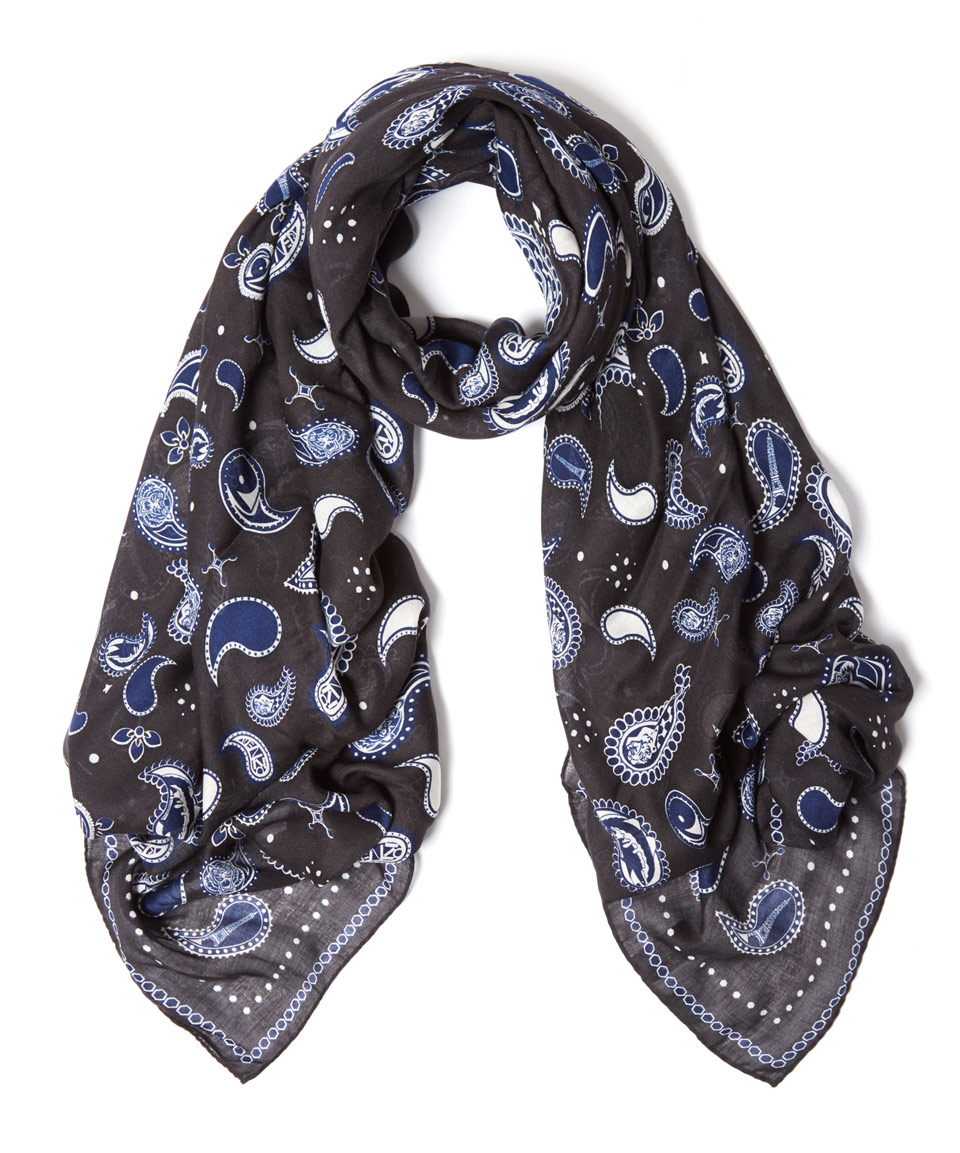 kenzo black paisley tiger icon wool blend scarf in black