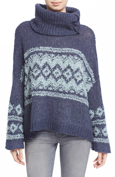 Free people Fair Isle Split Neck Sweater in Blue | Lyst
