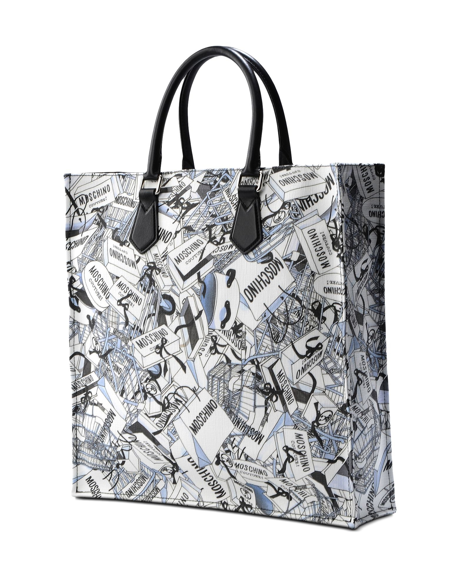 moschino shopping bag print tote in black lyst. Black Bedroom Furniture Sets. Home Design Ideas