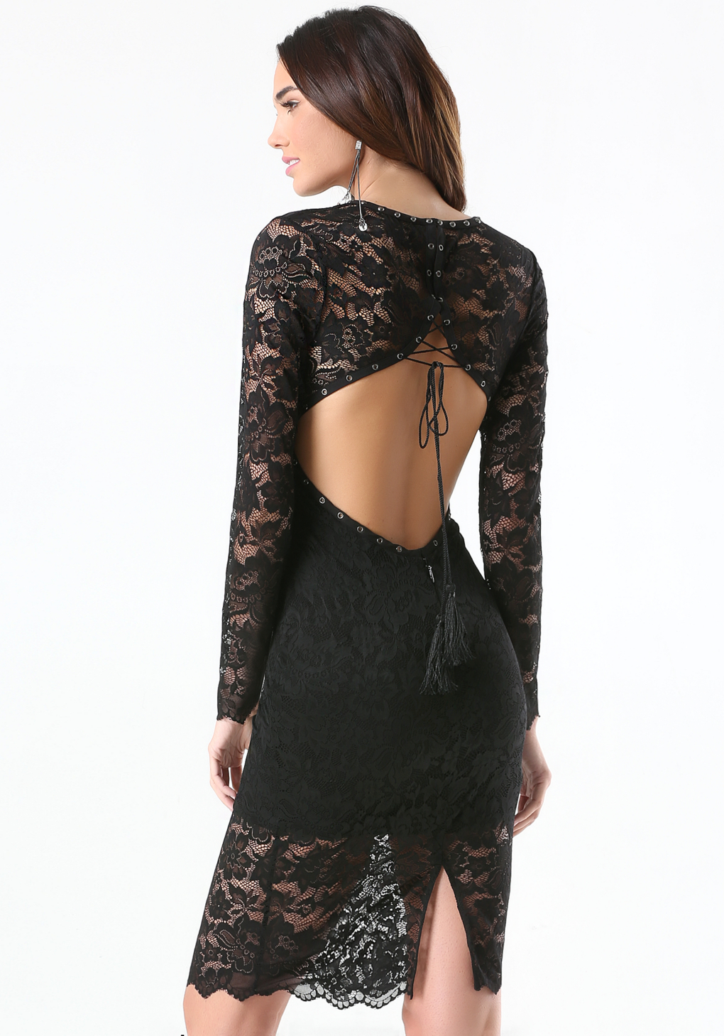 Lyst Bebe Lace Open Back Midi Dress In Black