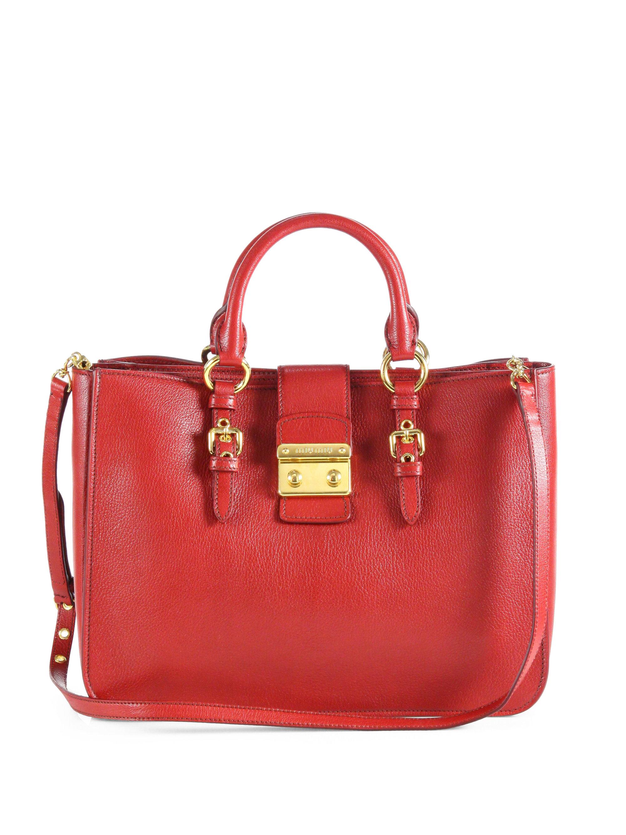 Miu miu Powder Ruched Leather Matelasse Top Handle Bag in Brown ... miu miu  outlet italy - Miu miu Madras Large Top Handle Bag in Red  a877c670f6dda