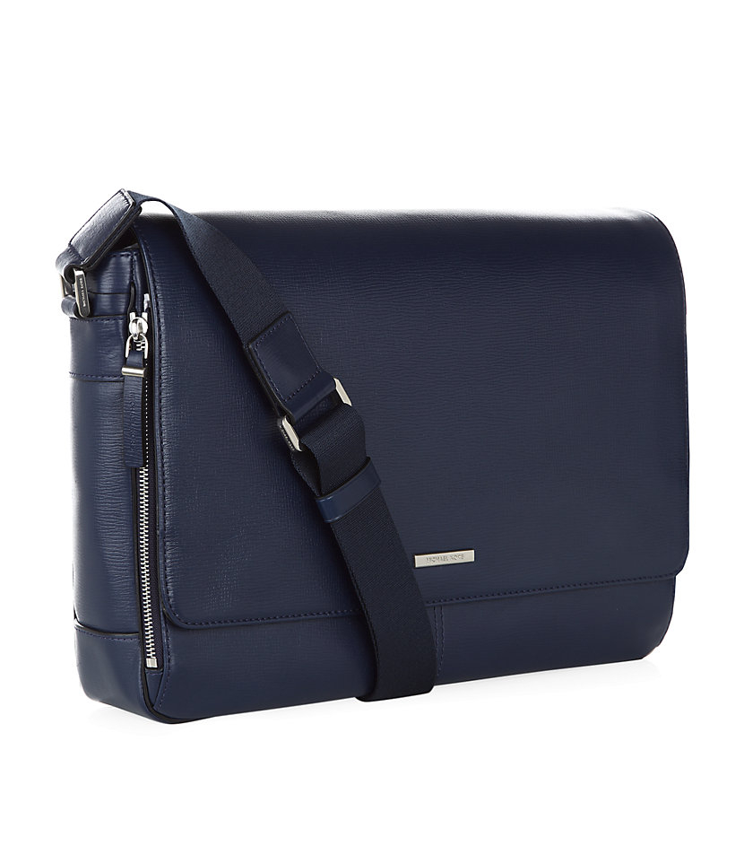 Michael Kors Leather Messenger Bag in Blue for Men