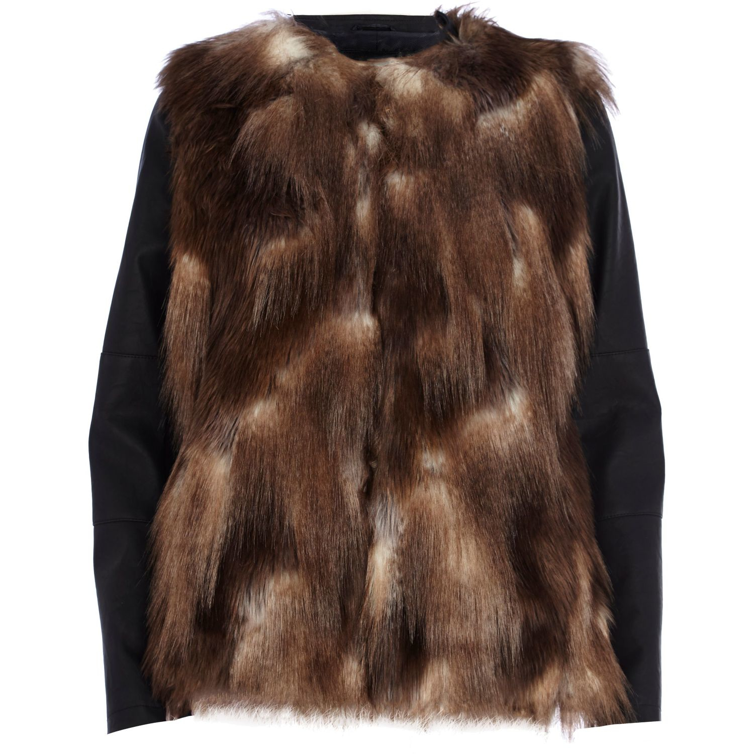 River island Brown Faux Fur Leather-look Sleeve Jacket in Brown | Lyst