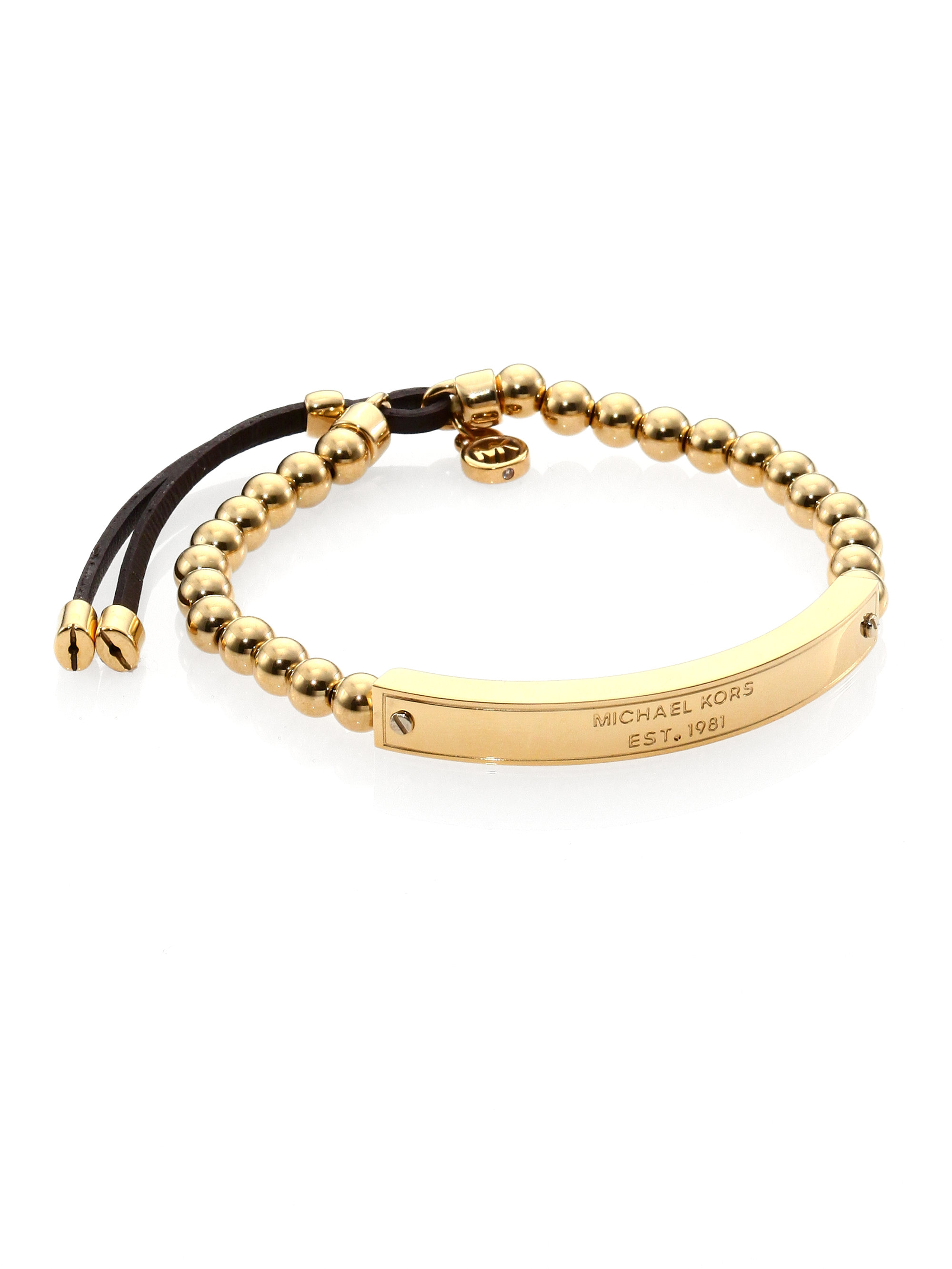 michael kors logo plaque beaded leather bracelet in gold lyst. Black Bedroom Furniture Sets. Home Design Ideas