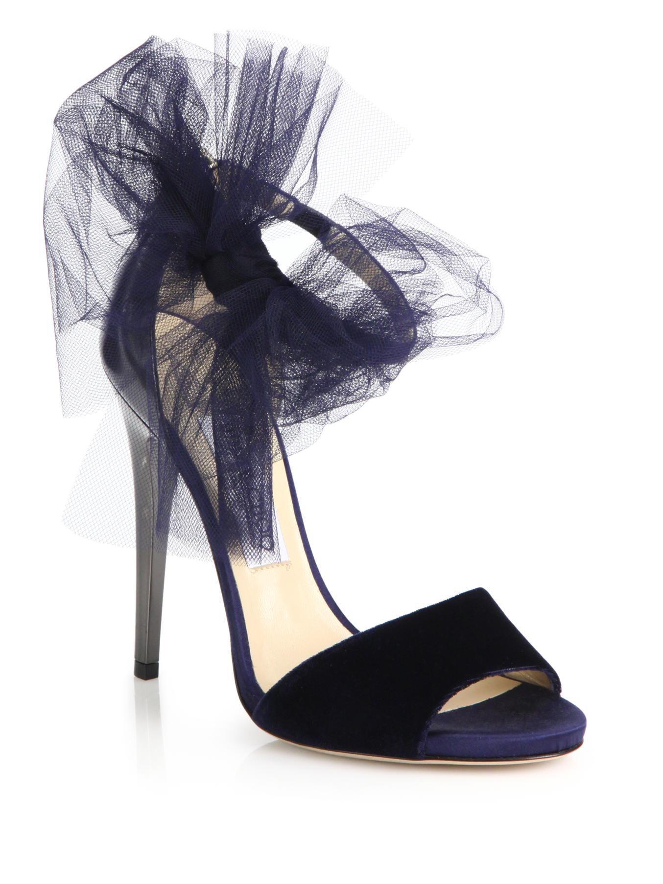 Jimmy choo 'Lilyth 100' Tulle Bow Velvet Sandals in Blue | Lyst