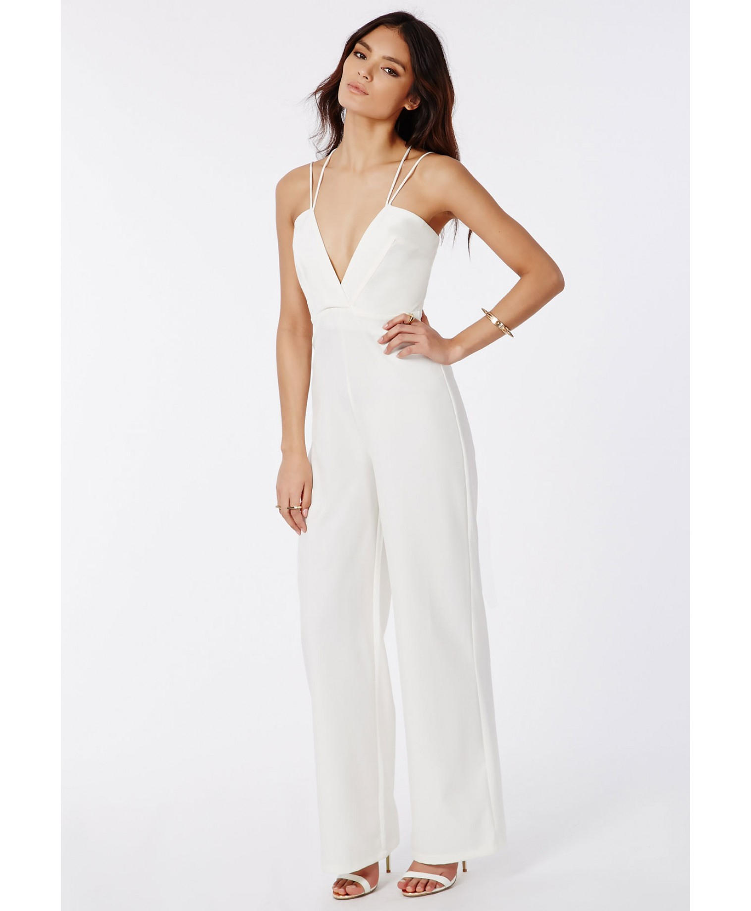 Missguided Strappy Cross Front Wide Leg Jumpsuit White in White | Lyst