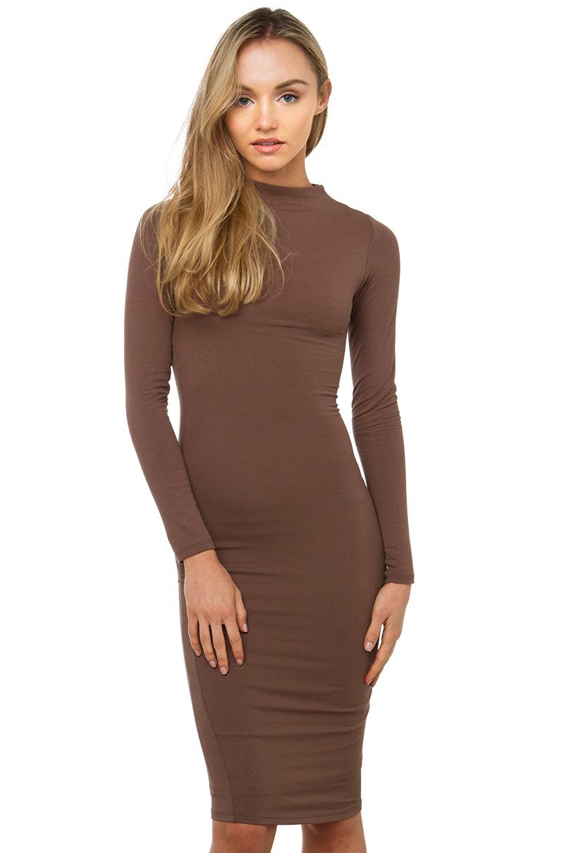 7b7ddfa367 AKIRA Mock Neck Bodycon Dress - Toffee in Brown - Lyst