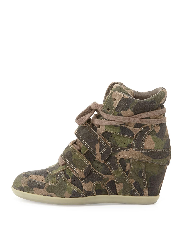 Ash Bea Wedge Sneakers Green Camo In Green Lyst