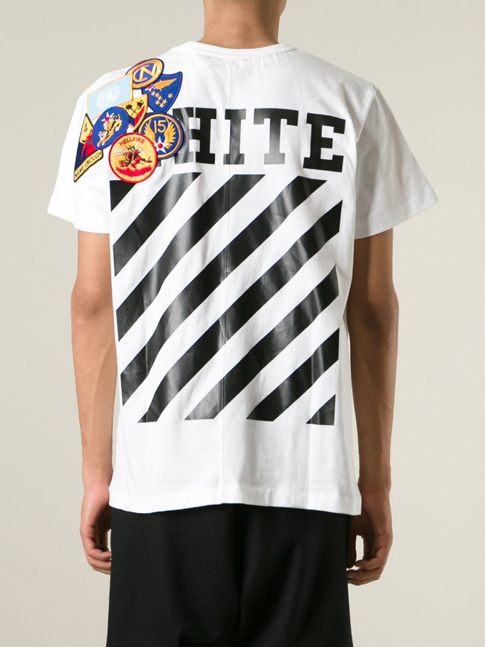 04ab8ad1a91261 Off-White c/o Virgil Abloh Patch And Stripe T-Shirt in White for Men ...