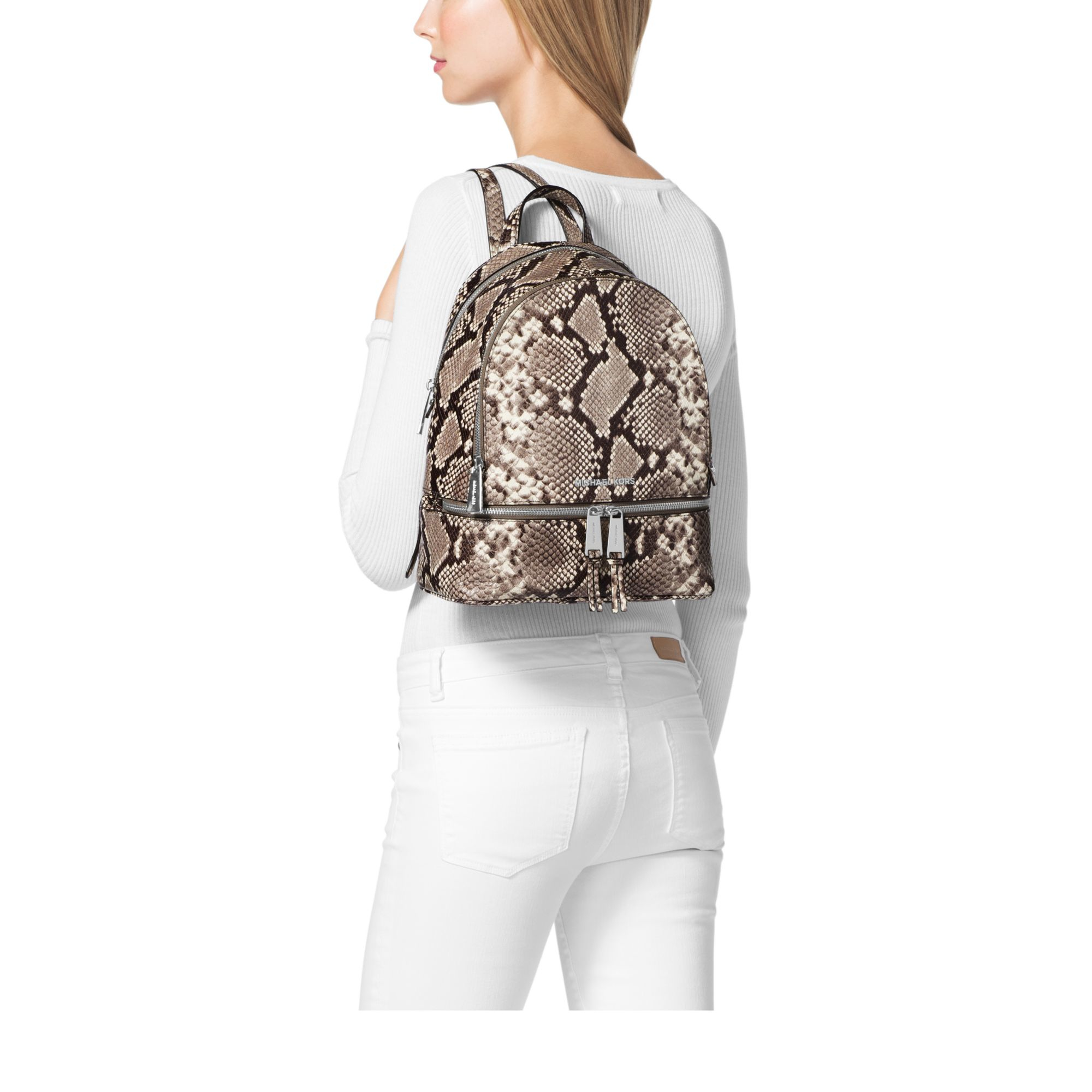 0330896a41e039 Michael Kors Rhea Small Embossed-leather Backpack in Natural - Lyst