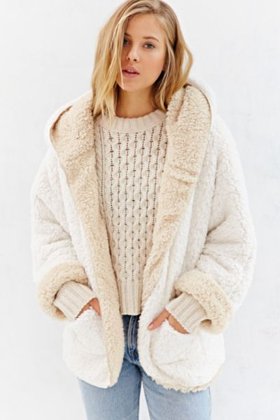 Lyst Bdg Fuzzy Reversible Jacket In Natural