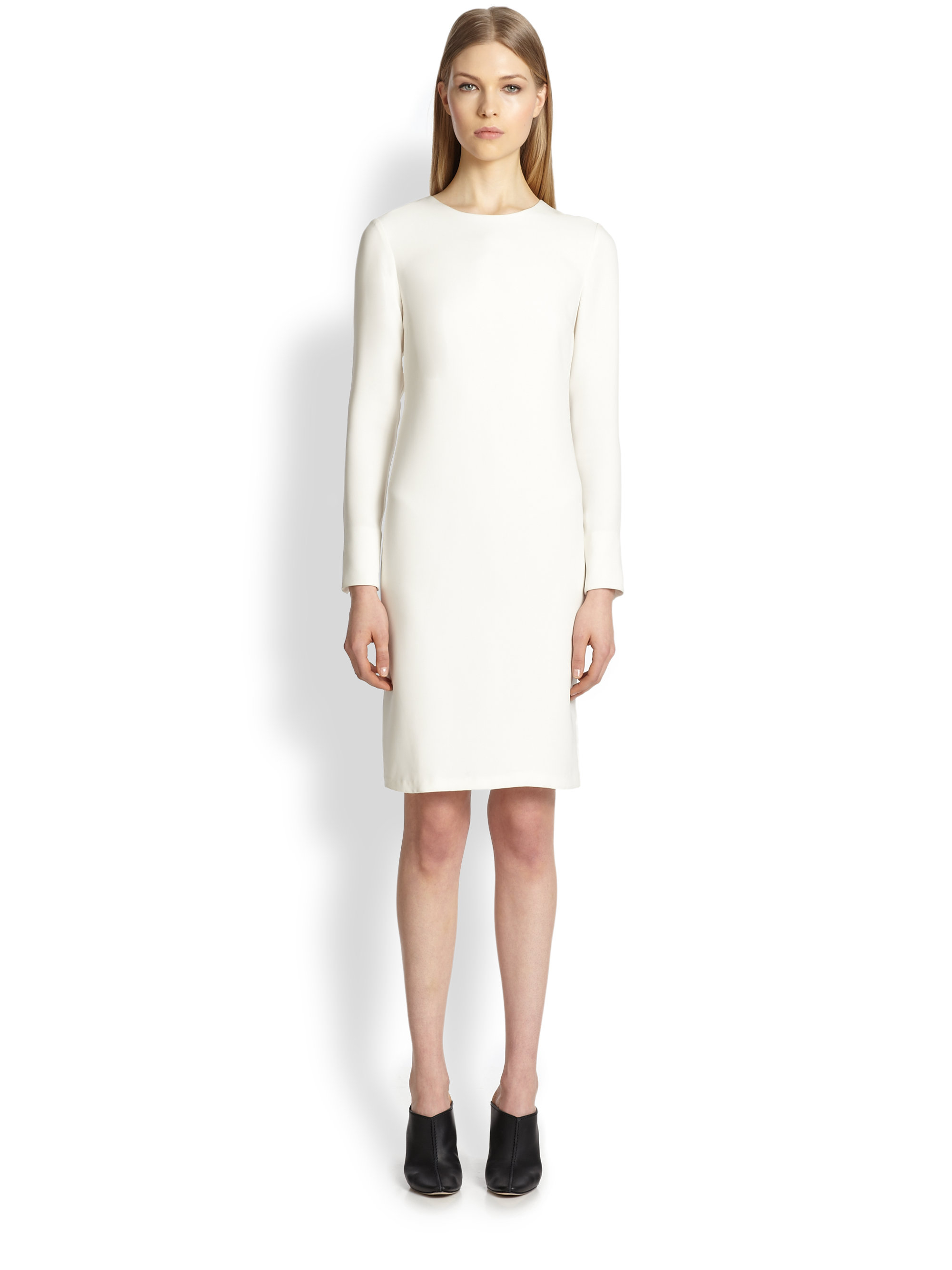 Adam lippes Long-Sleeve Necklace Dress in Natural